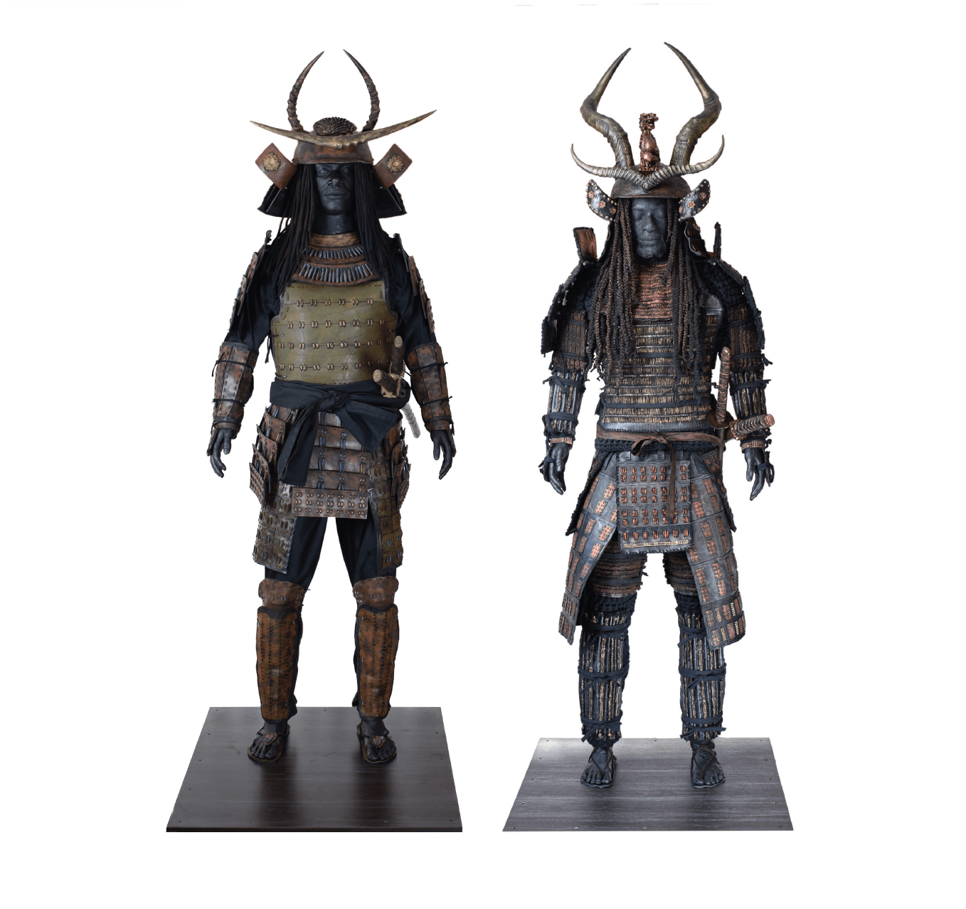 LEFT: Obsidian Samurai XXII, 2020. Polyurethane plastic, used inner tyre tubes, stainless steel, aluminium, wood, polyurethane foam, nails, glass, epoxy resin, cotton cloth, cotton cord, cotton rope, thermoplastic, wax pigment, faux suede, beads, replica katana. Dimensions: 820 x 810 x 2042mm. © Matthew Miller. RIGHT: Obsidian Samurai XVII, 2019. Polyurethane plastic, used inner tyre tubes, stainless steel, aluminium, wood, polyurethane foam, nails, glass, epoxy resin, cotton cloth, cotton cord, cotton rope, thermoplastic, wax pigment, faux suede, beads, replica katana. Dimensions: 820 x 810 x 2120mm. © Matthew Miller